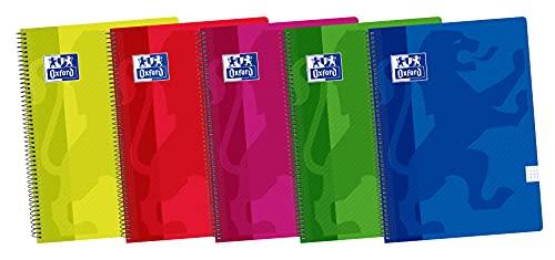 Oxford, Cuadernos A5, Pack de 5 Libretas de Tapa Plástico con Espiral, 80 Hojas con Cuadrícula 4x4, Colores Surtidos