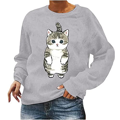 Cute Sweatshirt for Teen Girls Crewneck Long Sleeve Pullover Lovely Cat Print Blouse Womens Fall Winter Tops
