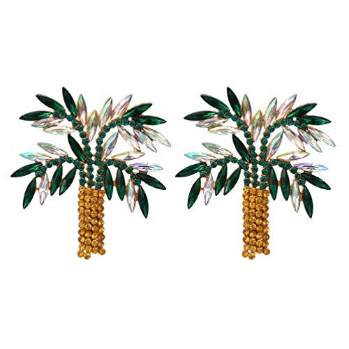SOIMISS 1 par de Pendientes de Árbol de Coco Pendientes de Palmera de Diamantes de Imitación Pendientes de Playa Tropical Pendientes de Oreja Joyería para Mujeres Pendientes Hawaianos de