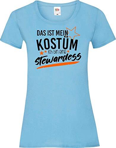Shirtinstyle Camiseta de Chica Verkleidet como Aeromoza Disfraz De Carnaval Revestimiento Muchos Colores Camiseta de Culto XS-XL - Azul Claro, S