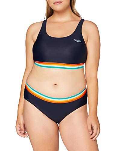 Speedo Damen U-Bk 2Pc De Bikini Kostüm, True Marine/Orange Fizz/Mango, D40
