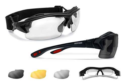 Bertoni Sportbrille mit Sehstärke für Brillenträger mit 3 Antibeschlag UV Schutz Gläsern - mit Austauschbare Bügel oder Kopfband - AF399D Italy (Glänzend Schwarz / Rot - 3 Brillengläser)