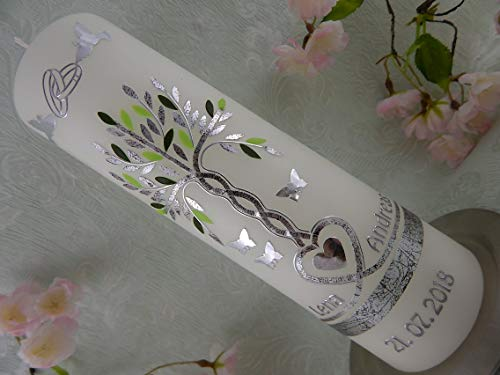 Hochzeitskerze Traukerze Lebensbaum Herz Ringe Tauben silber grün 250/70 mm inkl. Beschriftung