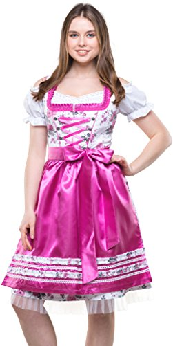 Bavarian Clothes Dirndl Damen Pink Weiß mit Satinschürze, 3 teiliges Set '7000' Midi Trachten Dirndl Blumenmuster Dirndlbluse (Größe 36)