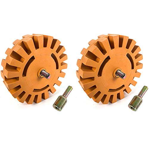 QWORK Removal Eraser Wheel Tool Kit, 2 Pack 4 Inch Rubber Power Drill Attachment for Removing Pinstripes, Stickers, Adhesive Vinyl Decals from Cars, Rvs, Boats and More
