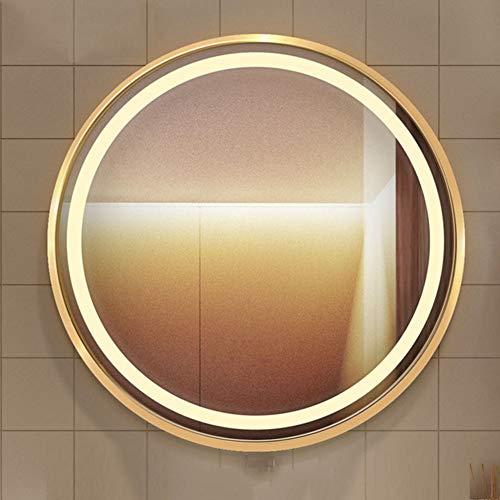 L&ED 60cm con Espejo De Baño Iluminado con Luz LED, Marco De Aluminio HD Espejo De Pared, Redonda, Tocador, Lavabo