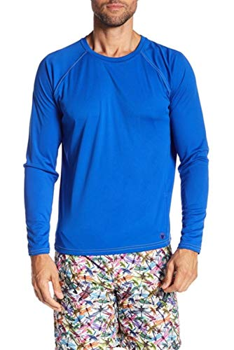 Beach Bros. Men's UPF 50+ Swim Shirt - Long Sleeve Quick Dry Rashguard - Royal/Lime Stitching, 3X