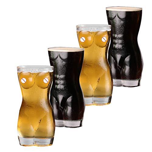 BAIVIN Sexy Biergläser- 4er Set, Weizenbierkrug Transparentes Glas Bierkrug Körbchen Getränkebecher Bar Nachtclub Weinglas, für Männer, Erwachsene Geschenk,700ML