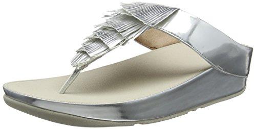 Fitflop Damen Metallic Cha Fringe Toe-Thong Zehentrenner, Sandalen, Silberfarben, 40 EU