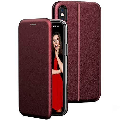 BYONDCASE iPhone X Hülle Rot, iPhone XS Hülle [Deluxe Leder Flip-Hülle Klapphülle] Handyhülle iPhone X Fullbody 360 Grad R&umschutz Ultra Slim kompatibel mit dem iPhone 10 Hülle X/XS
