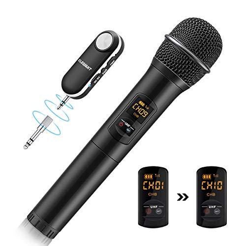 ELEGIANT bluetooth UHF Mikrofon, kabelloses Handmikrofon Wireless Microfhone Tragbares Funkmikrofon Dynamisches Mikrofon Karaoke Anlage mit Empfänger wiederaufladbar Reichweite mehr als 50m