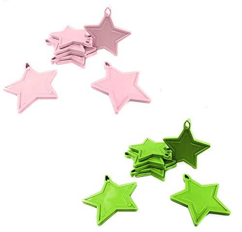 INERRA Estrella Globo Pesos para Globos de Helio - Paquete de 10 Mezclado (5 X Rosa Claro y 5 X Verde Claro )