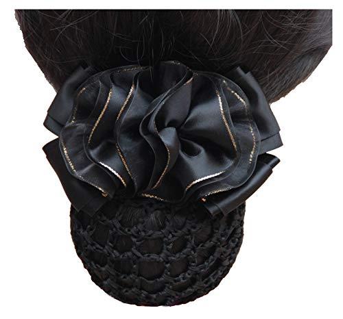 Fleurs noires décor snood net barrette pince à cheveux couverture