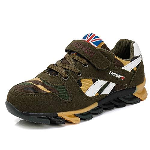 ADREAMONE Unisex-Kinder Sneakers Laufen Schuhe Sportschuhe Sneakers Jungen Mädchen Low-Top Sneakers Klett-Laufschuhe (EU 28CN 29, T-N-grün)
