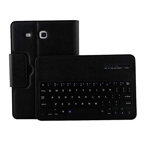 for Tablet Bluetooth Keyboard Gq for Galaxy Tab E 9.6 / T560 2 in 1 Detachable Bluetooth Keyboard Litchi Texture Leather Case with Holder(Black) (Color : Black)