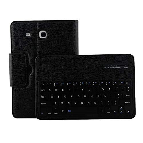 YDYX ACDD para la pestaña Galaxy E 9.6 / T560 2 en 1 Funda de Cuero de la Textura de Litchi de la Textura del Teclado de Bluetooth Desmontable con el Titular (Negro) (Color : Black)