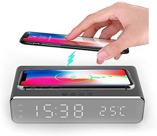 LVYE1 MRMF Reloj Despertador LED con Pantalla de Temperatura de la Hora, Base de Carga inalámbrica, 5W Certificado Qi para iPhone 11, 11 Pro MAX, XR, XS MAX, XS, X, 8, 8 Plus y más