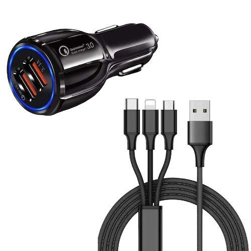 HaiMa Qc 3.0 Cargador De Coche Rápido Usb Dual + 3 In1 Cable De Carga Usb - Negro