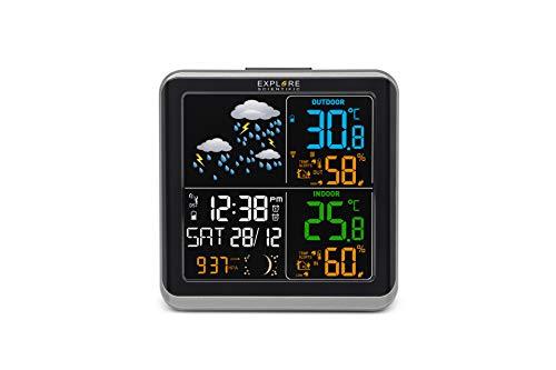 Explore Scientific WSH4008 ccM3000 Stazione Meteo Radio-Controllata, Barometro con Previsioni del Tempo, Sensore per Temperatura Interna, Nero
