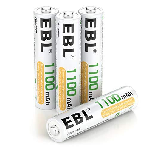 EBL Micro AAA Akku 1100 mAh - AAA wiederaufladbare Batterie Typ NI-MH mit Aufbewahrungsbox 4 Stück