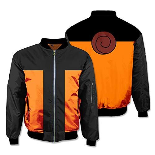 Anime Naruto Cosplay Hoodies 3D Sweatshirts Thicken Bomber Jacket Men Winter Flight Coat Streetwear Adult Baseball Coat Top Cosplay Orange