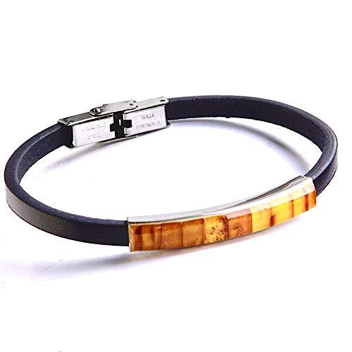 Schmales Orangefarbenes Unisex-Armband Aus Schwarzem Baltischem Bernstein