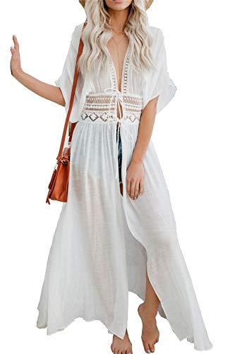 L-Peach Vestido Largo de Playa para Mujer, Blanco 7, Talla única