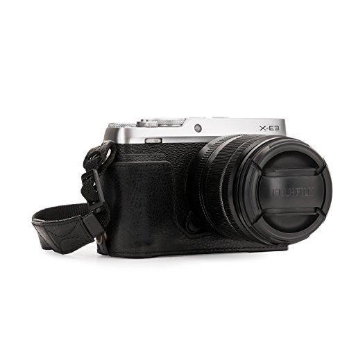 MegaGear Ever Ready Echtleder Kamera-Halbtasche mit Trageriemen & Batteriezugang für Fujifilm X-E3 schwarz