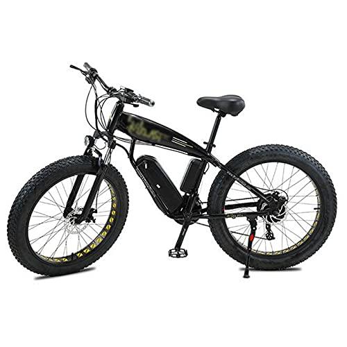 ZWHDS Bicicleta eléctrica eléctrica de 26 Pulgadas Bici eléctrica Bici eléctrica Bici de montaña eléctrica 4.0 Neumático de Grasa Ebike 36V13AH Batería de Litio (Color : Black)