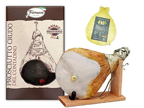 Prosciutto Crudo intero con osso, in confezione regalo con morsa e coltello + Caciocavallo al...