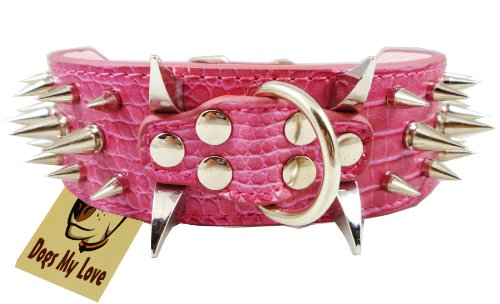 """19""""-23.5"""" Pink Faux Croc Leather Spiked Dog Collar 2"""" Wide, 40 Large Spikes"""
