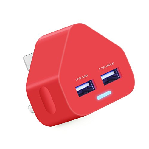 AMG 2.1A Dual USB Mains Charger for All of Mobile Phones & Tablets Devices -Dual / 2 Port Cable Hub for Power Charging Devices & Accessories On UK 3 Pin Plug Mains Adapter for Samsung A3,A4,A5/S5,S6, S7 Edeg/ Galaxy / Tab / HTC / Nexus / Xperia / Hudl Apple iPhone 3/ 4 / 4s / 5 / 5c / 5s /5E/ 6 / 6 Plus /6s / 6s Plus - iPad 1 / 2 / 3 / 4 / Air /Pro/Mini 2.3.4- Mobile Phone / iPod / MP3 & 4 Player (Red)