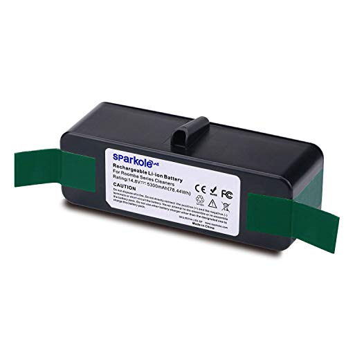 SPARKOLE 5300mAh Extended Life Lithium Ion Battery Compatible with iRobot Roomba 500 600 700 800 Series 675 880 770 650...