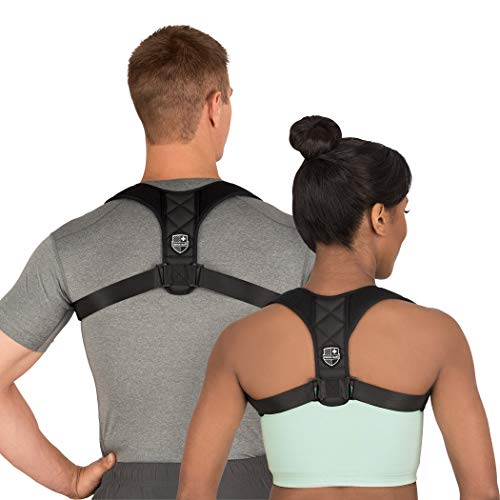 Swiss Safe Posture Corrector for Men/Women - Stylish & Discreet Ergonomic Back Straightener Brace for Proper Posture & Spinal Pain Relief (Black, Small Size)