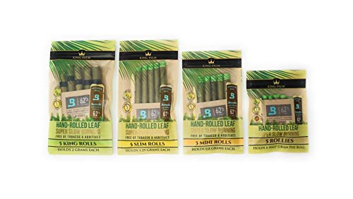 King Palm Pre-Rolled Leaves Variety Bundle – 4 different sizes – 1 pack each of Rollies, Mini, Slim, King – 5 per pack…