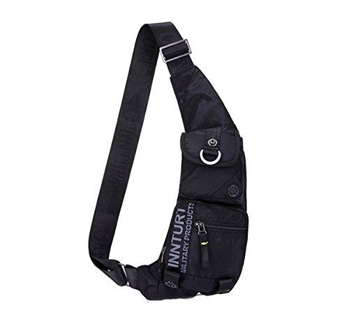 Innturt-Schultertasche aus Nylon, auch geeignet als Tragetasche, Brusttasche oder Rucksack, bk10, New Moon-Black