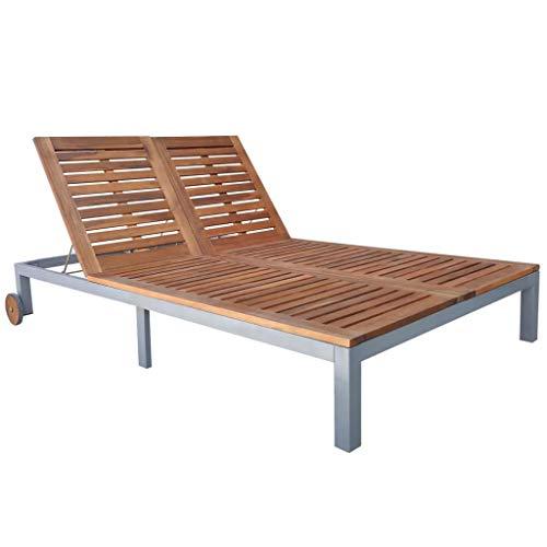 Festnight Doppel-Sonnenliege Gartenliege Massives Akazienholz | Doppelliege Relaxliege mit 2 Rollen Verstellbare Rückenlehne | für Garten, Terrasse und Balkon 207 x 130 x 88 cm