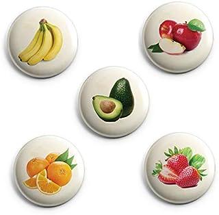 AVI Regular Size Fridge Magnets Pack of 5 Beige Banana Strawberry Avacado Orange Fruit for Kitchen 58mm Metal C5MR8002317