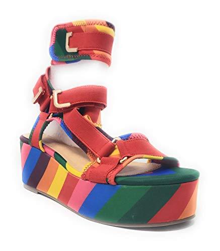 Women's Strappy Elastane Harness Chunky Platform Wedge Heel (8, Rainbow)