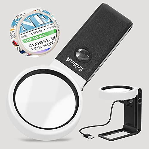 Zelbuck Lupe mit Licht 6X 25X, Handlupe mit 2UV & 6 LED Licht Verzerrungsfreier Leselupe Faltbare Leichtgewicht Beleuchtete Vergrößerungsglas für Senioren, Juwelier, Handwerk, Bücher mit Linsentuch