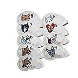 bobeini 9 Pcs. Cubiertas portátiles para la Cabeza del Club de Golf Patrón de Gato de Dibujos Animados Lindo PU Cubierta Impermeable Blanco