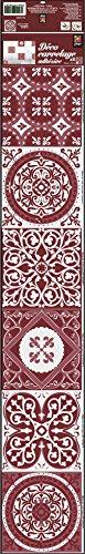 Plage Smooth - Tiles Fliesen Sticker Zementfliesen ROT [6 Bogen 15 x 15 cm x 5.90'' ], Vinyl, red, 15 x 0,1 x 15 cm
