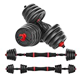 KAC Adjustable Dumbbells Barbell 2 in 1 with Connector, Adjustable Dumbbell Barbell Sets Total 66lbs, Lifting Dumbbells All-Purpose, Home, Gym, Office