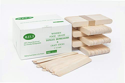 HLSN-Natural Birch Wood DIY Craft Stick Non- Sterile Tongue Pressing Stick 6 Inch (500)