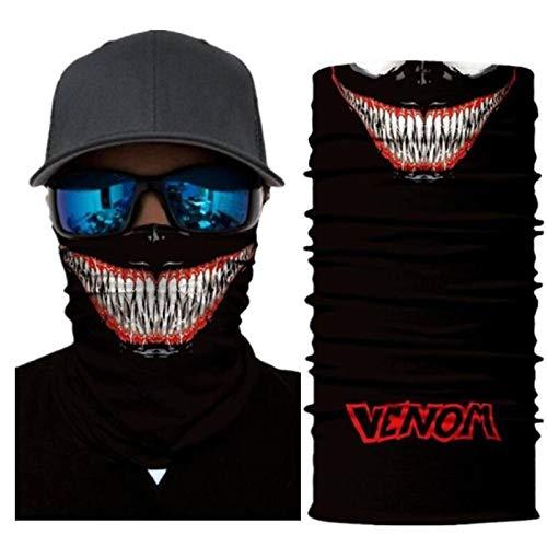 OKJK Bandana 3D sin Costuras Venom (4) Pasamontañas Pañuelo, Pesca, Senderismo, Correr, Motocicleta, Diadema Anti-UV Multifuncional Unisex