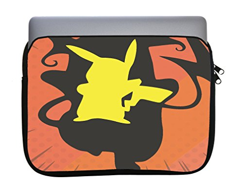 Pokemon Pikachu Raichu Evolution Silhouette Design Printed Image Artwork 11x14 inch Neoprene Zippered Laptop Sleeve Bag by Trendy Accessories for MacBook or Any Other Laptop