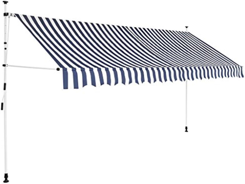 VidaXL Markise Einziehbar Manuell 350cm Blau Wei Sonnenschutz Klemmmarkise