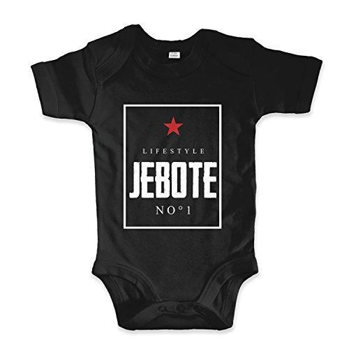 net-shirts Organic Baby Body aus Bio-Baumwolle mit Jebote Lifestyle Aufdruck Balkan Apparel Jugo BossStrampler, Größe 3-6 Monate, Schwarz