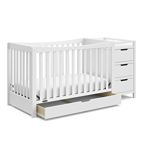 Graco Remi 4 in1 Convertible with Drawer and Changer JPMACertified with Storage Drawer Attached Changing Table with 3 Drawers 2 Shelves and Water Resistant Changing Pad, White
