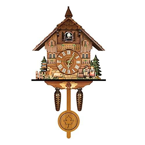 ZHJIUXING ST Reloj De Cuco - Reloj Vintage De Madera De La Casa del Árbol De Cuco para Sala De Estar, Dormitorio Infantil, Decoración De Oficina, B